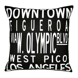 "Uptown Artworks - Dowtown LA Pillow - Features: -Material: Natural cotton / linen. -We recommend spot-cleaning or wash in cool water with phosphate-free detergent. -Zipper closure, plush feather and down insert. -Made in the United States. -Eco-friendly. -Overall dimensions: 20"" H x 20"" W, 2 lbs."