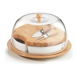 Anchor Hocking - 10-Piece Bamboo Entertaining Set - Anchor Home Collections Bamboo 10-Piece Entertaining Set Contains: Chip and Dip Cheese Set with Acrylic Dome Gift Boxed.