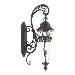Kalco Lighting - Kalco Lighting 9413MB Anastasia 2-Light Outdoor Wall Lights - The Anastasia Outdoor collection combines eye-catching Art Nouveau scrollwork with traditional lantern design. The delicate curves of this design are highlighted by Kalco's exclusive Outdoor finishes and our Clear Hammered Glass creates a flickering effect to the electric lights. This combination is sure to add a touch of whimsical elegance to any outdoor space.