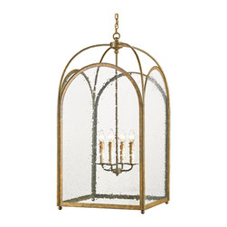 Kathy Kuo Home - Glass Iron Arched Hanging Lantern 4 Light Lantern Pendant - From the arched, metal framed panels to the domed open top, all the traits of an elegant contemporary architectural style glass panel lantern chandelier are on offer in this large four light beauty.  From French country to contemporary styles, the clean lines and refined metal work make it an easy piece for countless settings.