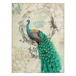 YOSEMITE HOME DECOR - Peacock Poise II - Left facing peacock printed in soft tints of aqua, teal and green with metal accents on a linen canvas.
