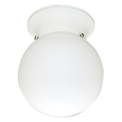 "Progress Lighting - Progress Lighting P3605-30 Glass Globes Series 6"" Single-Light Flush Mount White - Simply stylish, this 6 inch flush mount ceiling fixture from Progress Lighting is the answer to functionality and form. Featuring a thick trim ring that covers a standard outlet box and a white glass globe that conceals a medium base bulb, this fixture is small enough for closets, hallways and foyers, but bright enough to light up your space. Fixture DOES NOT have a pullchain.Features:"