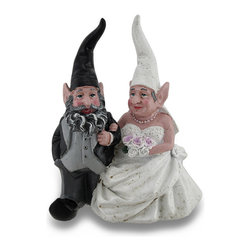 Zeckos - Wedding Couple Bride and Groom Weathered Finish Gnome Statue 8 Inch - Decorate the garden, gather the lawn ornaments and ring the bells, it's wedding day in Gnomeville for this happy couple. There's no love quite like gnome love, and this happy couple proves it Mr. And Mrs. Gnome are all smiles as they stroll arm in arm in their matrimonial attire. This whimsical 8 inch high, 6.5 inch long, 4 inch wide (20 x 17 x 10 cm) cold cast resin sculpture features a wonderfully hand-painted weathered finish, and is a beautiful accent for your garden oasis, patio or displayed among your potted greens, a tabletop or on a shelf inside your home. Great as a wedding, housewarming or anniversary gift for gnome enthusiasts, this statue couple is sure to be loved