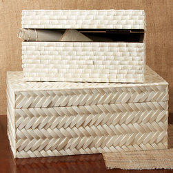 Basketweave Bone Boxes - Set of 2 - Faux bamboo, staple of global d�cor in the colonial age, and herringbone basketweave, timeless addition of crafted texture to the interior, pattern this Set of Two Basketweave Bone Boxes.  This pair of rectangular keepsake boxes is crafted from individual, shapely tiles of white bone, adding classicism to a tone-on-tone accessory ideal for altering the height and level of vignettes.