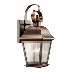 Kichler 1-Light Outdoor Fixture - Olde Bronze Exterior - One Light Outdoor Fixture. With its simple yet bold shape, the mount Vernon collection adds a touch of rustic flavor to the American home. Our olde bronze finish over solid brass gives an aged look to the piece, while the seedy glass panels provide additional texture and complete the mount Vernon's antique profile making it the perfect balance of form and function. Add a beautiful accenting touch to the front of your home with this 12 high, one light wall lantern. It uses a 100-watt bulb and is UL listed for wet locations.