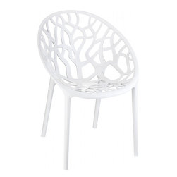 Compamia - Crystal Polycarbonate Modern Dining Chair Glossy White - Set of 2 - Crystal glossy white polycarbonate indoor outdoor dining chair offers modern design with commercial durability. Unique frame design. Chairs stack. Made with clear polycarbonate, moulded with gas technology. Scratch and UV resistant. Perfect for home or commercial use.