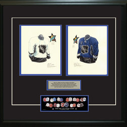 """Heritage Sports Art - Original art of the NHL 2002-03 NHL All-Star jersey - This beautifully framed piece features two pieces of original, one-of-a-kind artwork. Both images are glass-framed in an attractive two inch wide black resin frame with a double mat. The outer dimensions of the framed piece are approximately 28"""" wide x 24.5"""" high, although the exact size will vary according to the size of the original art. At the core of the framed piece is the actual piece of original artwork as painted by the artist on textured 100% rag, water-marked watercolor paper. In many cases the original artwork has handwritten notes in pencil from the artist. Simply put, this is beautiful, one-of-a-kind artwork. The outer mat is a rich textured black acid-free mat with a decorative inset white v-groove, while the inner mat is a complimentary colored acid-free mat reflecting one of the team's primary colors. The image of this framed piece shows the mat color that we use (Medium Blue). Beneath the artwork is a silver plate with black text describing the original artwork. The text for this piece will read: These are original, one-of-a-kind watercolor paintings of both of the 2002-03 NHL All-Star jerseys. These jersey images have been, and continue to be, used to celebrate the history of the NHL All-Star game in posters like the one shown below as well as game programs, magazines and websites across North America. Beneath the silver plate is a 3"""" x 9"""" reproduction of a well known, best-selling print that celebrates the history of the team. The print beautifully illustrates the chronological evolution of the team's uniform and shows you how the original art was used in the creation of this print. If you look closely, you will see that the print features the actual artwork being offered for sale. The piece is framed with an extremely high quality framing glass. We have used this glass style for many years with excellent results. We package every piece very carefully in a double layer of """