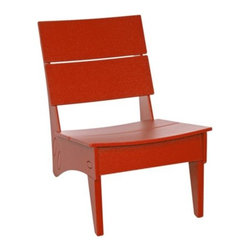 "Loll Designs - Vang Chair by Loll Designs - Small stature equals big relaxation with the Loll Designs Vang Chair. This low-profile chair features a comfortably curved seat and back, and is made out of 100% recycled HDPE, a smooth, durable material made primarily from recycled milk jugs. Available in numerous colors to complement any outdoor decor. Loll Designs creates ""outdoor furniture for the modern lollygagger."" Founded in 2003, Loll specializes in the use of recycled materials (primarily plastic milk jugs) to create their long-lasting, low-maintenance and, of course, super-stylish outdoor chairs, tables, benches and other outdoor furnishings. All Loll products are designed and made in Duluth, Minnesota."