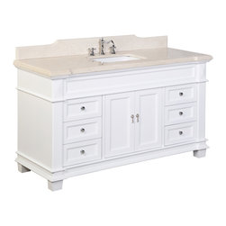 Kitchen Bath Collection - Elizabeth 60-in Bath Vanity (Crema Marfil/White) - This bathroom vanity set by Kitchen Bath Collection includes a white cabinet with soft-close drawer and self-closing door hinges, Crema Marfil marble countertop with stunning beveled edges (an incredible 1.5 inches thick at the edge!), undermount ceramic sink, pop-up drain, and P-trap. Order now and we will include the pictured three-hole faucet and a matching backsplash as a free gift! All vanities come fully assembled by the manufacturer, with countertop & sink pre-installed.