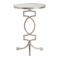 Kathy Kuo Home - Cooper Silver Leaf Hollywood Regency Mirror Accent Side Table - Gleaming antique mirror and silver construction make this round accent table a luxurious stand out, while the open, ornamental design of its iron base give it a decidedly royal European flair.  This table would work perfectly within your contemporary home or Hollywood regency décor - or, use as a bedside table to give your bedroom some instant elegance.
