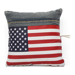 Zuo Modern - Cowboy Cushion Blue Denim w/ USA Flag - Made from recycled denim fabric sewn into a whimsical design, the Cowboy cushion is a must for any room.