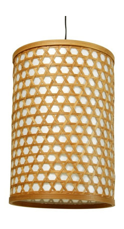 Oriental Unlimited - Desu Japanese Lattice Hanging Lantern - Light bulb not included. Crafted in a classic Japanese style. Casts warm indirect light through the shade and direct light below. Uses medium base type A 40W light bulb. UL approved wiring, socket, power cord and switch. Plugs directly into an electrical socket. No electrician required. Split woven bamboo over a tough fiber reinforced washi paper shade. Minimal assembly required. 8 in. Dia. x 12 in. H (0.5 lb.). Cord: 65 in. L