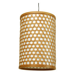 Oriental Unlimted - Desu Japanese Lattice Hanging Lantern - Light bulb not included. Crafted in a classic Japanese style. Casts warm indirect light through the shade and direct light below. Uses medium base type A 40W light bulb. UL approved wiring, socket, power cord and switch. Plugs directly into an electrical socket. No electrician required. Split woven bamboo over a tough fiber reinforced washi paper shade. Minimal assembly required. 8 in. Dia. x 12 in. H (0.5 lb.). Cord: 65 in. L