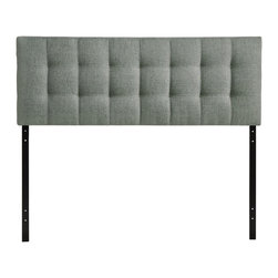 Lily Queen Fabric Headboard - Introduce some boxy pizazz with the lavish design of the Lily headboard. Intended to be versatile for a wide range of modern bed styles, Lilys deep button tufting, and carefully aligned trim, present a uniform piece meant to cast prominence upon your room. Fully upholstered in padded fabric, Lily is a narrow piece meant to convey a strong sense of expansiveness within your entire surroundings.
