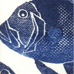 ODL Fish Fabric, Navy - Using outdoor fabrics indoors is one of our favorite designer tricks. They are durable enough to stand up to kids, pets and wet areas — which is always a plus for busy families. Lewis and Sheron Textiles is a great retail source and has a huge selection of outdoor fabrics. We think this fishy print sure would make for a fun shower curtain.
