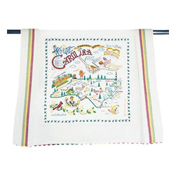 CATSTUDIO - North Carolina State Dish Towel by Catstudio - What a beautiful state! This original design celebrates the state of North Carolina from Cape Fear to Asheville to Duck to Kitty Hawk where in December of 1903 man's first flight took place.  This design is silk screened, then framed with a hand embroidered border on a 100% cotton dish towel/ hand towel/ guest towel/ bar towel. Three stripes down both sides and hand dyed rick-rack at the top and bottom add a charming vintage touch. Delightfully presented in a reusable organdy pouch. Machine wash and dry.