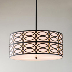 None - Indoor 3-light Black Pendant Chandelier - This 19-inch round modern three-light chandelier is a great way to add instant style to your living space. An overlapping circle pattern of black-finished metal surrounds the large beige fabric drum shade, creating dimension and interest.
