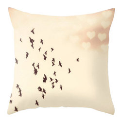 Maybe Sparrows Place - Birds Flying to Love Pillowcase - Fly towards love with arms (or wings?) wide open, that's the message in Ashley's romantic bird-and-heart artwork. Give yourself a little reminder to let love in every time you look over at your armchair. Maybe it's time to reconnect with that person from your past who still tugs on your hearts strings.