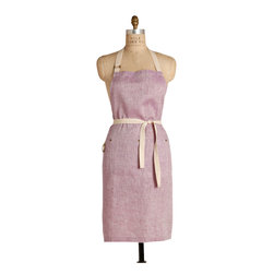 Birdkage - Plum Classic  Bib Apron - With its pale orchid shade and cool linen weave, this classic bib apron has a spring morning freshness. Casual detailing such as blue jean rivets on the pocket and contrasting cream topstitching give this simply styled apron an everyday easy feel. The traditional longer length and roomy sides give it a versatile fit as well.