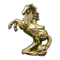 """Golden Lotus - Chinese Silver Pewter Rearing Horse Figure - Dimensions:   7.5"""" x 3""""x  h8.75"""""""
