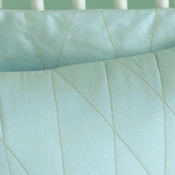 Area Mist Dia Quilt Set - Area Mist Dia Quilt Set. Green embroidery on misty blue 100% organic cotton, Mist Dia Crib Quilt Set by Area.