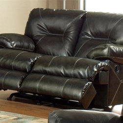 Catnapper - Cortez 429 Reclining Loveseat in Brown - Seats 2. Real leather everywhere your body touches. Known as leather with matching vinyl. Durable bonded leather cover. Dramatic accent stitching. Unitized steel base. 100% Steel seat box. No warping or splitting in this critical area (standard on most models). Reclining Mechanism:. Installed with noiseless sure-lock spring clips. Strongest recliner seat box available. Direct drive cross bar ensures that both sides of the mechanism operate together, in sequence, for longer life. Heavy 8-gauge sinuous steel springs in the seat provide strength, comfort and flexibility. Made of bonded leather and vinyl. No assembly required. Limited lifetime warranty. 79 in. L x 40 in. W x 40 in. H (198 lbs.)