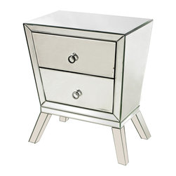 Sterling Industries - Mirrored Side Cabinet with 2 Drawers - The lines on this piece make it reminiscent of the 1950's . High quality mirror and modern chrome handles guarantee it will make a pop in any setting. 2 sturdy drawers make it great for storage.