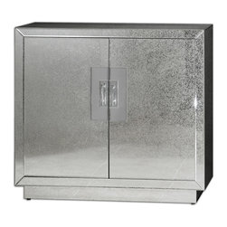 Uttermost - Andover Mirrored Cabinet - Invite some Hollywood regency vibe into your foyer or powder room with this antiqued mirror cabinet. Chrome door pulls add a modern touch and inside an adjustable shelf helps you keep household or personal essentials handy and organized. The matching mirror is available for a complete set.