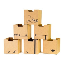 Sprout - Bird Print Cardboard Cubby Bins 6 Pack - Sprout cardboard cubby bins offer simple, modern, and practical design. Made from recycled cardboard, these bins will help to organize your child's life. Designed for use in the Sprout Cubby, you can store books, toys and more in these fun storage bins. More economical than plastic and canvas bins, Sprout cubby bins feature fun graphic designs, and add a unique touch to any playroom, bedroom or nursery.