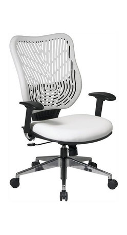 Office Star - Self Adjusting Ice SpaceFlex Back and White V - Self adjusting spaceflex backrest support system with breathable memory foam mesh seat. One touch pneumatic seat height adjustment. 2-to-1 syncro tilt control with adjustable tilt tension control. Height adjustable arms with forward/backwards adjustable PU pads. Heavy duty angled polished aluminum finish base with oversized dual wheel carpet casters. Seat dimensions: 21 in. W x 19 in. D x 3 in. T. Back dimensions: 20.50 in. W x 22 in. H