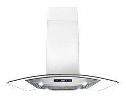 """AKDY - AKDY AK-Z688I/CS14 Euro Stainless Steel Island Mount Range Hood, 36"""" - AKDY's 688iCS14 island range hoods are designed in Spain with quality construction and stunning style. This 36"""" wide range hood with a 870 CFM blower. Constructed entirely from stainless steel, it features an adjustable chimney and aluminum grease filters with a wide filtration area. The 3-speed fan is operated with an intuitive digital controls. Four 2W LED light bulbs are pre-installed, offering an elegant illumination of your cooktop or range. The 688iCS14 is designed for ducted use, but may be converted to a ductless (recirculating) range hood when you order an optional charcoal filter set."""