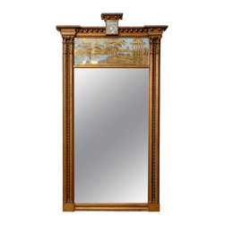 Consigned Regency Trumeau Mirror - Intricately carved, painted and gilded, this mirror reflects your eye for the exquisite. A rare Regency piece — from England, 1820s to 1840s — it makes an important addition to your antiques collection.