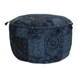 Nuloom - nuLOOM Handmade Casual Living Indian Round Blue Pouf - Sit back and put your feet up with this round ottoman pouf,perfect for relaxing in your casual space. The Bohemian-style cotton pouf also adds extra seating. With its patchwork design and stitched details,this ottoman is as pretty as it is practical.