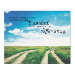 Advantus - Advantus Two Roads Vintage Canvas Motivational Print, 22 x 28 - These vintage canvas prints feature illustrated inspirational messages for the office or home.