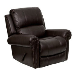 Flash Furniture - Flash Furniture Brown Bonded Leather Recliner - This motion recliner will provide you comfort with the added bonus of the rocking feature. The rocker recliner can not only be used in the living room but makes for a great nursery chair. The gentle back and forth rocking is soothing to both babies and adults. Beautiful brass nail trimming adds an elegant touch to the recliner. The thick cushions add to the comfort level to provide you comfort while you relax. The durable leather upholstery allows for easy cleaning and regular care. [MEN-DSC01072-BRN-GG] Operating out of Etowah GA (with a warehouse in Reno NV) Flash Furniture specializes in bold upbeat décor for home office or commercial spaces. With a wide array of colors and fashions to fit your budget Flash Furniture accommodates your every need. Features include Plush Oversized Recliner Extra Wide Design Made of Eco-Friendly Materials Overstuffed Padded Seat Back and Arms Brass Nailhead Trimming Recessed Lever Recliner Brown LeatherSoft Upholstery LeatherSoft is leather and polyurethane for added Softness and Durability CA117 Fire Retardant Foam. Specifications Seat Size: 22W x 20D Back Size: 33W x 25H Arm Height From Floor: 26 - 5H Seat Height: 21H Color: Brown Upholstery: Brown Bonded Leather.