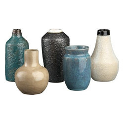 glazed mini vases set of five - instant collection. Five exceptional artisanal ceramics scale down for interest. Handmade earthenware urns, each a different shape, each a different reactive glaze in graphite, off white, blue, green and yellow. Each eco-friendly set is unique.- Earthenware glazed graphite, off white, blue, green and yellow- Each set is unique- Made in Vietnam