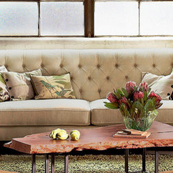 Horizon Sofa - This lovely tufted sofa has a high back that keeps it eclectic and contemporary, making it versatile enough to fit into a French country house, a traditional colonial and even an industrial loft.