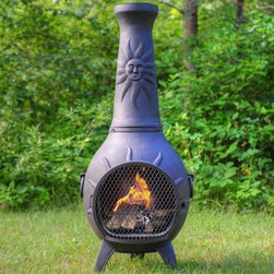 The Blue Rooster Sun Stack Style Chiminea - The Sun Ray Style Chiminea is a great companion on a chilly day. Makes a perfect gift for anyone who loves outdoors and grilling fresh food.