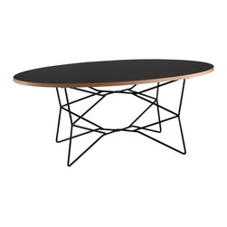 """Adesso - Adesso Network Contemporary / Modern Coffee Table X-10-3722KW - Black melamine veneer table has a natural MDF layered edge: table top is .75"""" thick. The black metal wire base has 5/16"""" Dia. legs. Oval table top: 39.25"""" W x 21.75"""" L."""