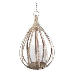 """Kathy Kuo Home - Rustic Metal Cottage Hanging Candle Lantern Pendant - """"Shed light on any space  - indoors or out - with this pear shaped  rustic metal frame candle lantern.  From rustic lofts to Mediterranean patios, the curved lines classic shape make this one lantern everyone will want to 'hang out' with!"""