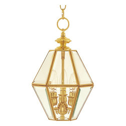 Maxim Lighting - Maxim Lighting Bound Glass Traditional Foyer Light X-BPLC1516 - Add a touch of elegance to any setting with the Bound Glass traditional foyer light. This beautiful shining fixture has large Clear Seeded glass panels, with a frame in Polished Brass. This piece will look great hanging in your foyer or hallway.