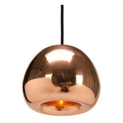 Tom Dixon - Tom Dixon Void Mini Copper Pendant - Void Mini, an extension of the Void series. Solid metal sheets are pressed, spun and braised to form a double wall shade. The double walls reflect and soften the light emitted from a concealed halogen bulb, the recessed shape concentrates the light into a soft focused beam. This mysterious lighting object is hand polished to create a mirrored surface which is then lacquered to maintain a high gloss finish.