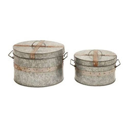 "Benzara - Traditional Metal Galvanized Round Box - Set of 2 - Traditional metal galvanized round box - set of 2. Stylish and attractive, this round box is inspired from minimalistic, traditional designs. It comes with the following dimensions: 12"" W x 12"" D x 10"" H. 10"" W x 10"" D x 8"" H."