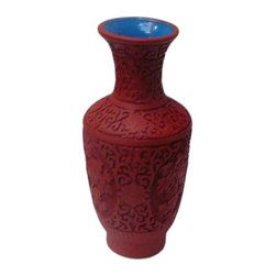 Golden Lotus - Chinese Red Lacquer Flower Carving Decor Vase - This is a lacquer material decorative vase with oriental details on the surface.