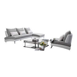Tosh Furniture - F891 Modern Sectional Sofa and Chair in Microfiber - It just doesn't get any better than this. This Tosh Furniture three piece collection offers easy comfort via its casual design, smart color combinations and open presentation. Incorporating soft gray and white, this design is absent the arms, lending to its modern look. With one piece cushions as the seating and oversized cushions as the back, the smaller accent pillows add even further dimension to this Tosh Furniture beauty. With a stacked appearance that accents the base and seating area and naturally reclined seat backs, there's a sophistication present that's often lacking from other modern living furniture collections. The angled chrome legs finish the look.