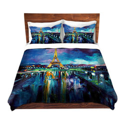 DiaNoche Designs - Duvet Cover Microfiber - Parisian Night Eiffel Tower - DiaNoche Designs works with artists from around the world to bring unique, artistic products to decorate all aspects of your home.  Super lightweight and extremely soft Premium Microfiber Duvet Cover (only) in sizes Twin, Queen, King.  Shams NOT included.  This duvet is designed to wash upon arrival for maximum softness.   Each duvet starts by looming the fabric and cutting to the size ordered.  The Image is printed and your Duvet Cover is meticulously sewn together with ties in each corner and a hidden zip closure.  All in the USA!!  Poly microfiber top and underside.  Dye Sublimation printing permanently adheres the ink to the material for long life and durability.  Machine Washable cold with light detergent and dry on low.  Product may vary slightly from image.  Shams not included.