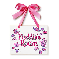 Jamie's Painting & Design - Hand Painted Name Plaque - Tea Party - Hand Painted Name Plaque - Tea Party