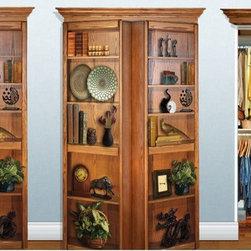 Murphy Door - Hidden Door Selections - This is a 4' surface mount bifolding bookshelf door. New in the box, includes threshold (bottom track), Bookshelf, Valance (Upper trim hardware component)  This item ships in 14-21 days.
