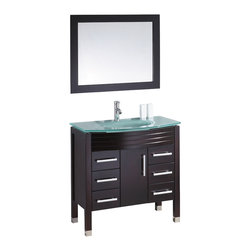 "36"" Frost Green Glass Top Vanity - Espresso - Cabinet is made out of  Pure Oak Wood"