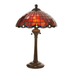 """Meyda Tiffany - 24""""H Elan Table Lamp - Plum/Raspberry colored glass shades trimmed in swooping scallops of Amethyst hues accented by sparkling Amber jewels and Clear granite glass. This table lamp features carved leaves in a Verdi Washed Ebony finish. The early 20th Century inspired motif, re-explored by the Meyda Tiffany design team, integrates Art Nouveau with Victorian."""